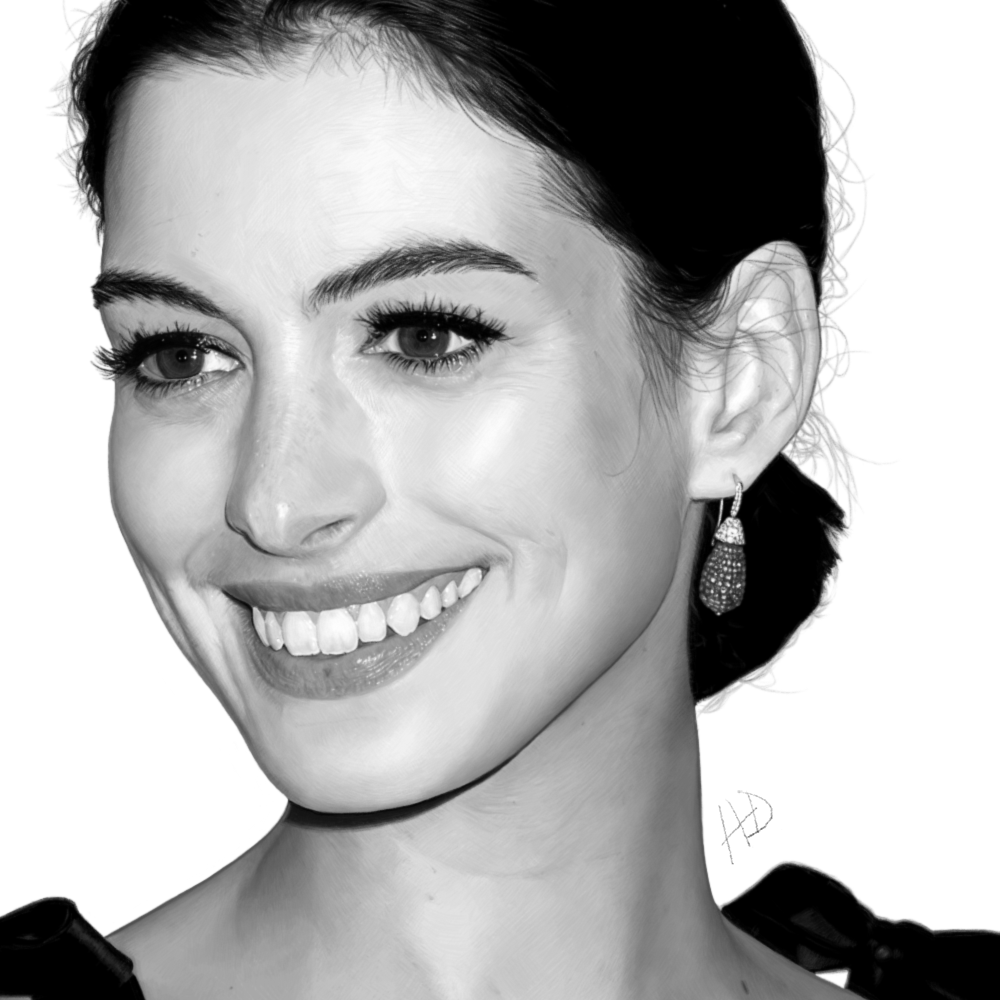 Anne Hathaway Drawing: WIP Drawing W/ 0.3px Gaussian Blur